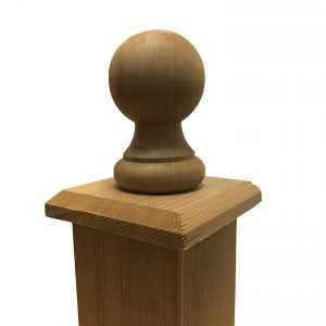 Cedar Wood Ball Finial with Base Cap